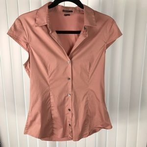 Theory button up rose blouse with cap sleeves.